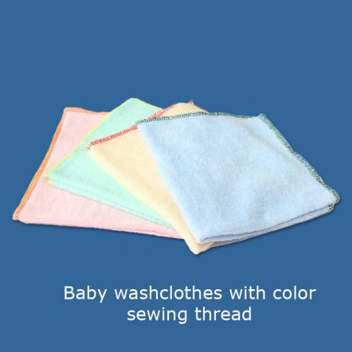 Baby washclothes with color sewing thread