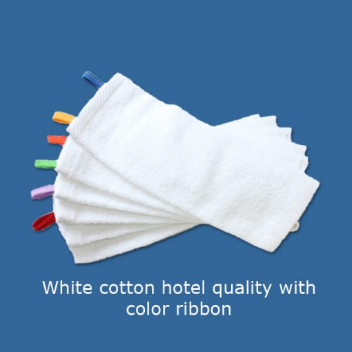 Washclothes white cotton hotel quality with color code ribbon