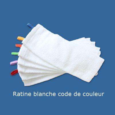 Débarbouillettes en ratine blanche avec code de couleur